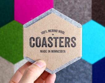 Felt Coasters Set, Drink Coaster, Modern Coasters, Wool Felt Coaster, Table Coasters, Hexagon Coasters, Geometric Coasters, Merino Wool