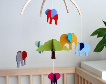 New > Elephant Crib Mobile for Boy, Girl Baby Shower, Tropical Nursery, Boy Nursery Decoration, Hanging Mobile Nursery Mobile, Safari Mobile