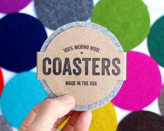 Felt Coasters Set, Drink Coaster, Felted Coaster Sets, Bar Coasters, Round Coasters, Beverage Coaster, Unique Coasters, Fabric Coasters