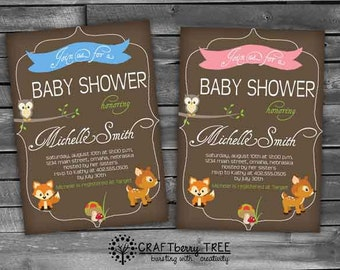 Woodland Girl Baby Shower Invitation (Digital File)