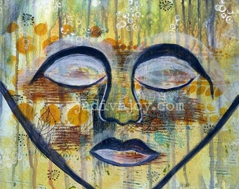 Tears of Joy-Matted Mixed Media Print (8x8 matted to 11x14)