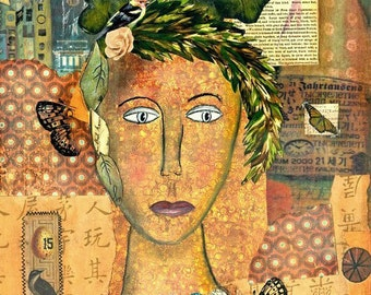 Beauty Surrounds Her-Matted Mixed Media Print (8x10 matted to 11x14)