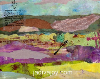 Pastel Landscape-Matted Mixed Media Print (8x10 matted to 11x14)