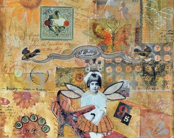 Anastasia-Matted Mixed Media Print (8x10 matted to 11x14)