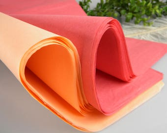 """48 Tissue Paper Sheets, Peach & Coral Pink, Gift Tissue, Gift Wrap Tissue paper  20"""" X 30"""""""
