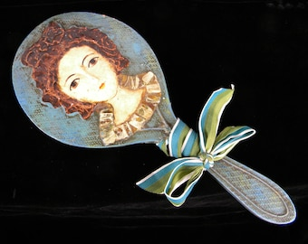 Antique Hand Mirror / Boudoir Mirror / Victorian Home Accent /  Unique Wood and Mache with ribbon Accent / Photo Movie Prop