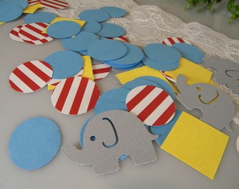 Circus Elephant Carnival Big Top Theme Party Decor - Gray / Cabana Blue / Yellow Red Stripe- Table Confetti - 100 pcs Morrell Decor Original