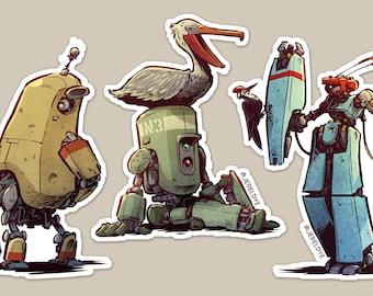 Robot and Bird: Sticker-set 1