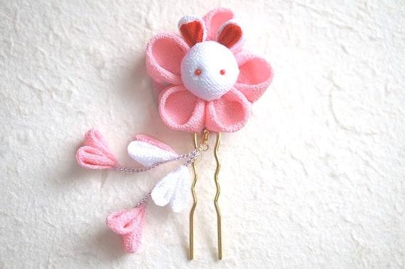 Vincent Tsumami Kanzashi pic à cheveux fleur Bunny(Pink)