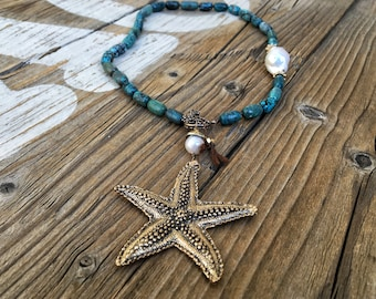 Natural Arizona Turquoise Starfish Necklace, Nucleated Pearl, Bronze Front Toggle, Bohemian Necklace, Nature Inspired