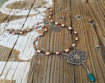 Long Double Layered Necklace, Faceted Champagne Pearls, Sterling Silver,  Smokey Quartz and Turquoise