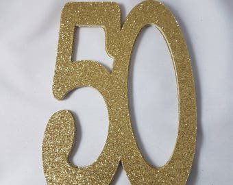 Glitter Jumbo 50 Confetti// Die Cuts  // 50th Party Decorations // Anniversary Party Decorstions // Cake Topper // 12 pieces // 5 inches