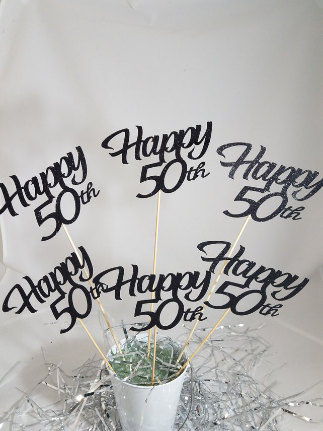 6 Happy 50th Birthday Centerpiece Sticks Anniversary Party Decorations 60th