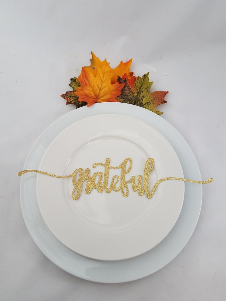 Grateful Christmas Table Decor Place Settings Gather 4 Glitter Blessed Table Place Card Cutouts Thankful Family