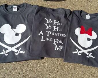 c649e9c6 Gray Yo Ho Yo Ho Pirate Mickey / Minnie Shirt - Disney World Shirt for the  whole FAMILY