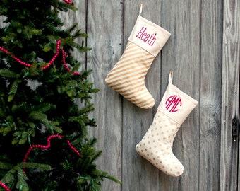 personalized christmas stocking free monogram family stockings gold dots gold stripes burlap and burlap with trim - Gold Christmas Stocking