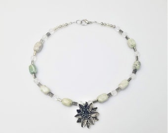 Silver Flower Focal with Green and Cream Stone, Quartz, and Antiqued Silver Beads Necklace