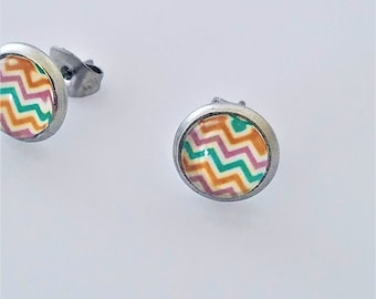 Boho Chevron Earrings on Surgical Stainless Steel Studs