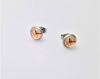 Clock Face with Peach Pink Flowers Earrings on Surgical Stainless Steel Studs