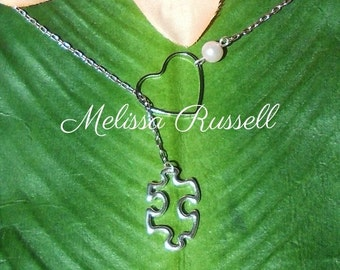 Autism Awareness Necklace &/or You Complete Me Puzzle Piece and Heart Necklace, handmade jewelry, mom, sister, girlfriend, wife, sale
