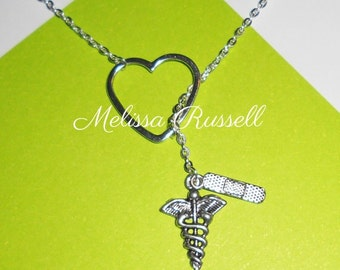 SALE - Medical, Nurse, Athletic Trainer, Doctor Lariat Necklace w/ Heart, Band aid, & Caduceus Charms, Handmade Jewelry, gifts for her, mom