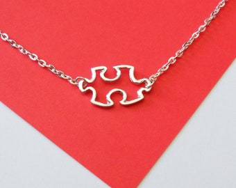 SALE - Silver Autism Awareness Necklace or Puzzle Piece Heart Necklace, handmade jewelry, mom, wife, girlfriend, sister, fiance, birthday