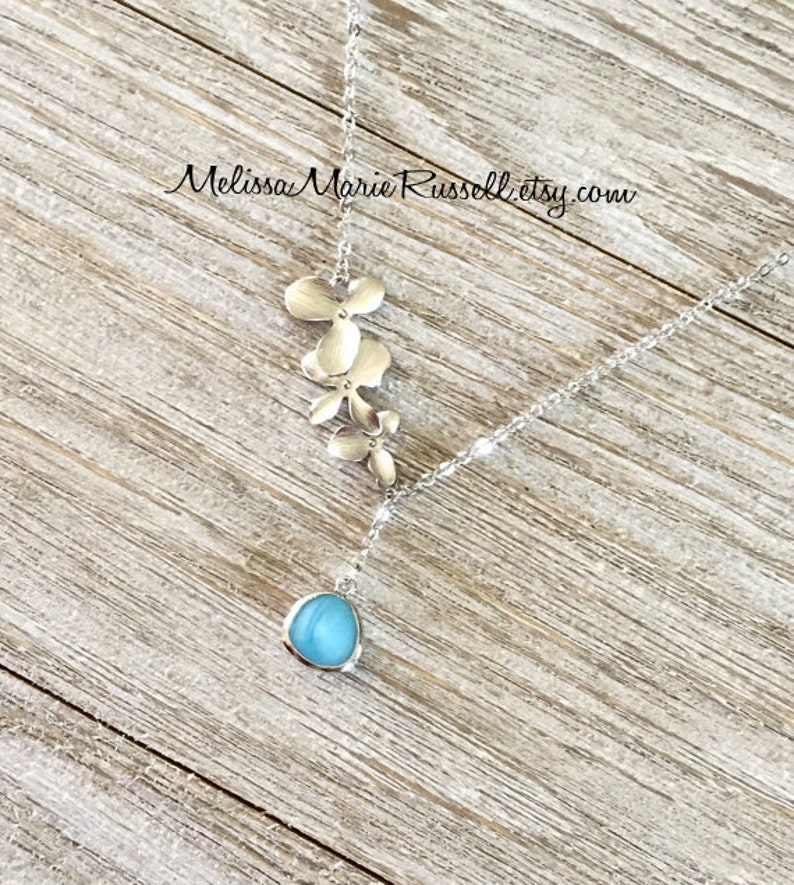Create your own Silver Cascading Orchid Flowers Gem Lariat Necklace mom graduation handmade jewelry Choose from 32 different gems