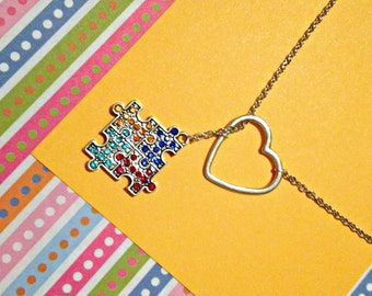 Sale - Autism Awareness Puzzle Piece Lariat Necklace with Rhinestones & Heart , handmade jewelry