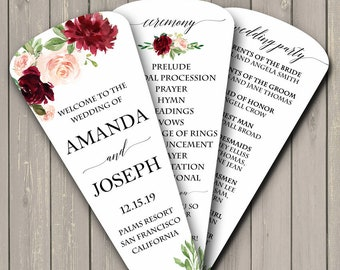 6abfb1ca0aa Wedding Program Petal Fans Assembled - Wedding Burgundy and Blush Collection
