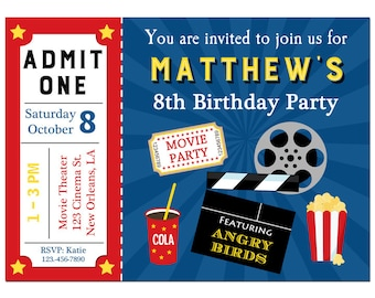 Movie Ticket Invitation Printable or Printed with FREE SHIPPING Pink and Purple Showtime Collection