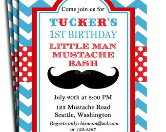 little man mustache invitation printable or printed with free shipping mustache bash for birthday baby shower etc