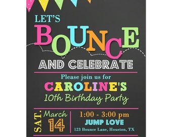 Bounce Invitation Printable Or Printed With FREE SHIPPING