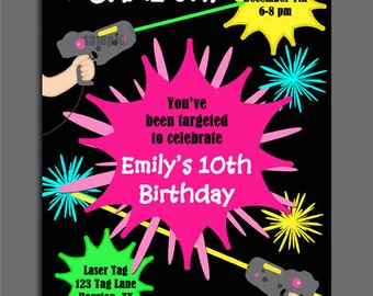 photograph relating to Laser Tag Invitations Free Printable named Laser Tag Birthday Invitation Printable and Published with