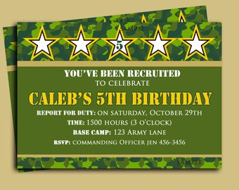 Camouflage Birthday Invitation Printable Or Printed With FREE SHIPPING