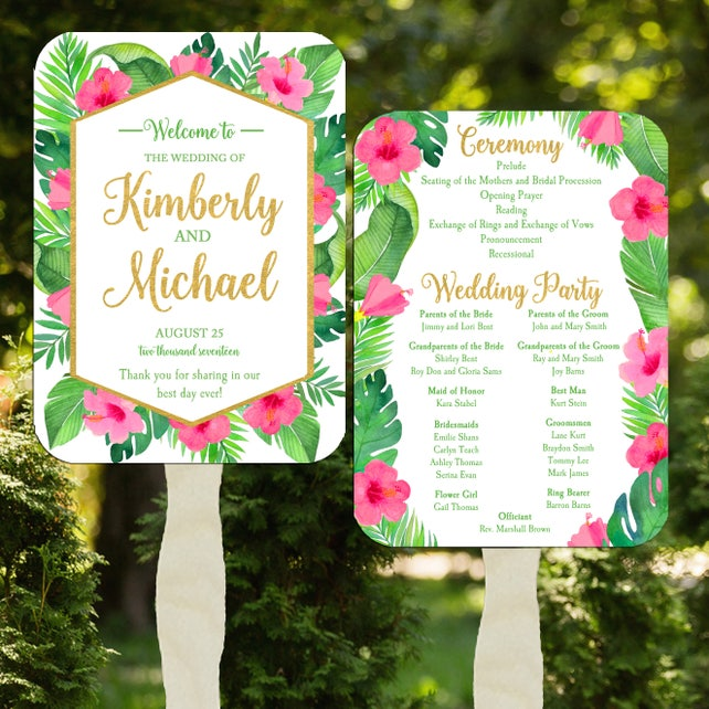 Wedding Program Fans Printable or Printed with FREE Shipping - Destination Beach Wedding - Palm Floral Collection