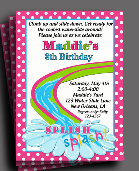 Girls Waterslide Pool Party Birthday Party Invitation Printable Or