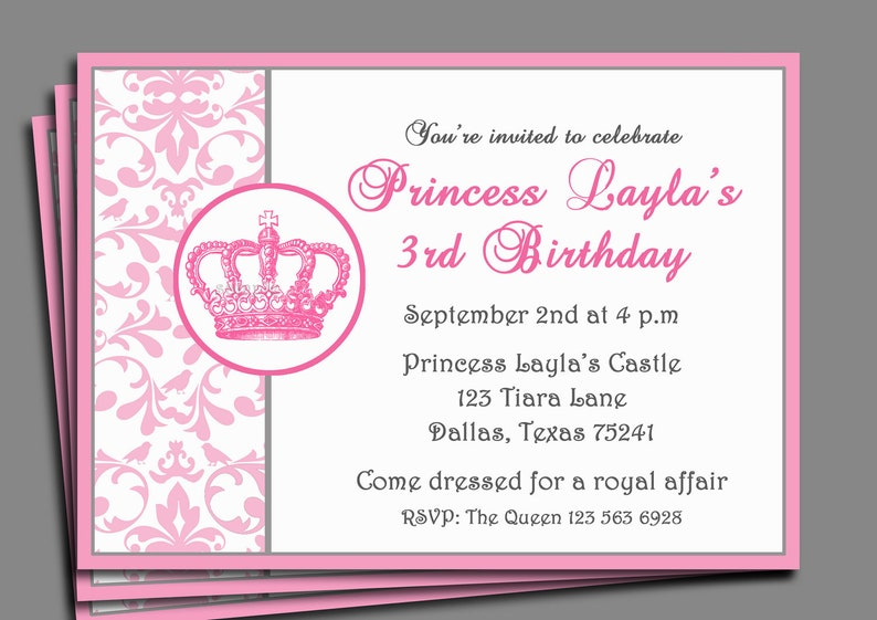 Princess Party Invitation Printable Or Printed With FREE SHIPPING
