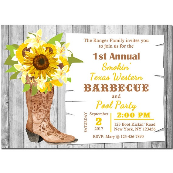 a9c2607112c Sunflower Boot Invitation Printable or Printed with FREE SHIPPING ...
