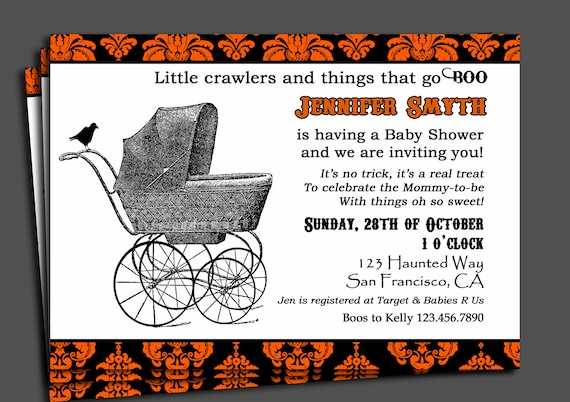Halloween baby shower invitation printable or printed with etsy image 0 filmwisefo