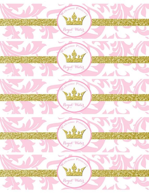 Pink Princess Baby Shower Water Bottle Labels Printable Pink Etsy