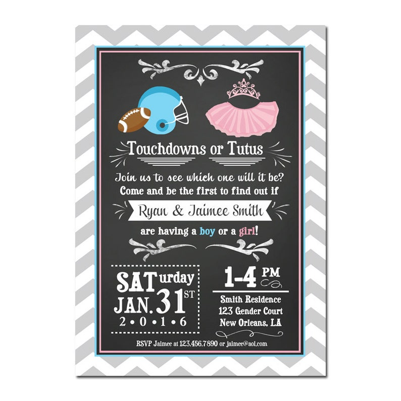 942dbec5 Touchdowns or Tutus Invitation Printable or Printed With FREE   Etsy