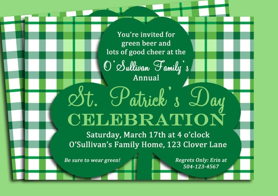 st patrick s day invitation printable or printed with etsy