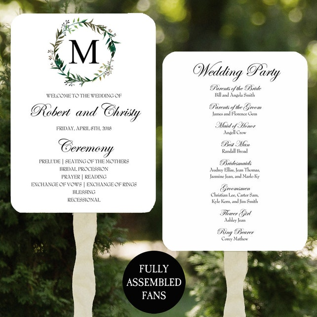 Wedding Program Fans Printable or Printed/Assembled with FREE Shipping - Monogram Greenery Wreath Collection