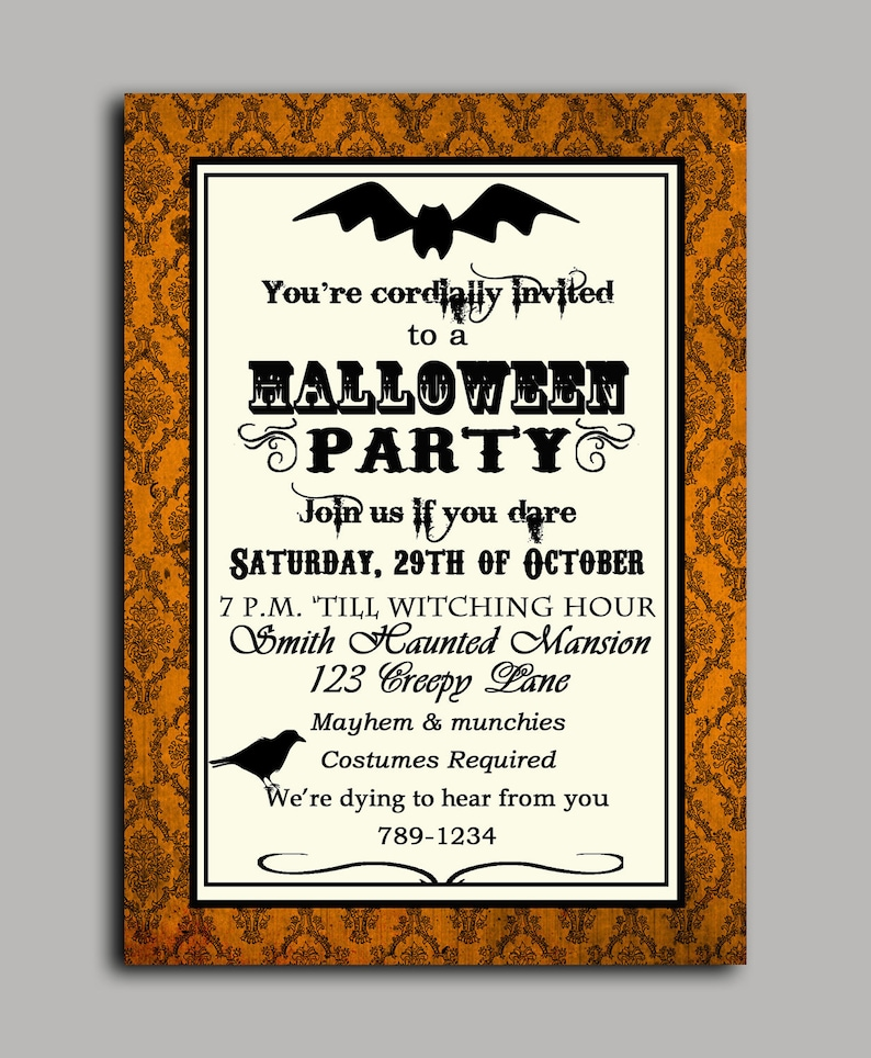 photograph relating to Free Halloween Invitations Printable named Halloween Invitation Printable or Published with Absolutely free Shipping and delivery- ANY Wording - Classic Motivated Halloween