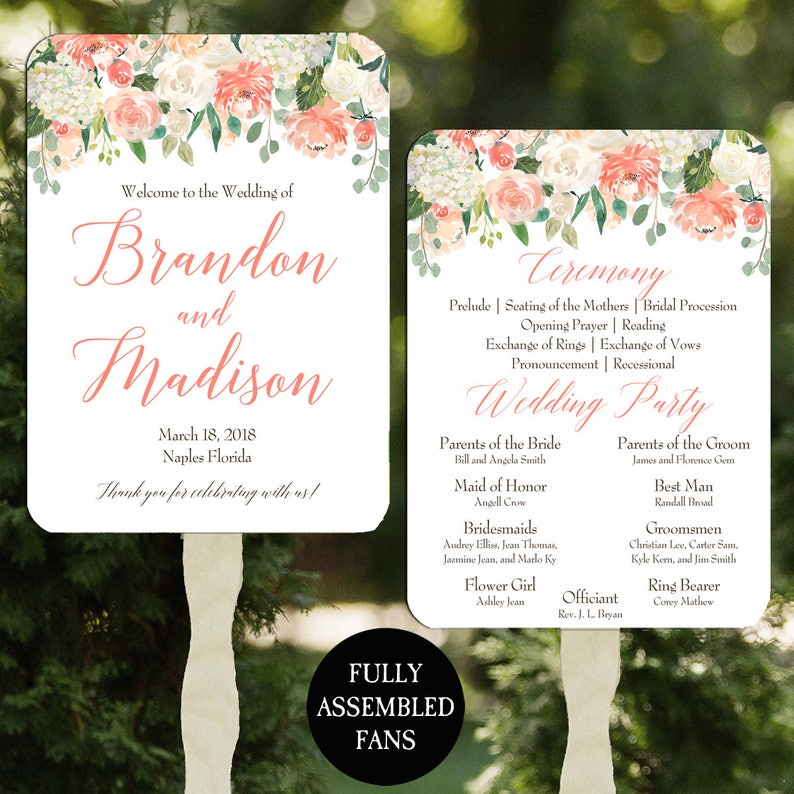 Peaches and Cream Collection Wedding Program Fans Printable or PrintedAssembled with FREE Shipping