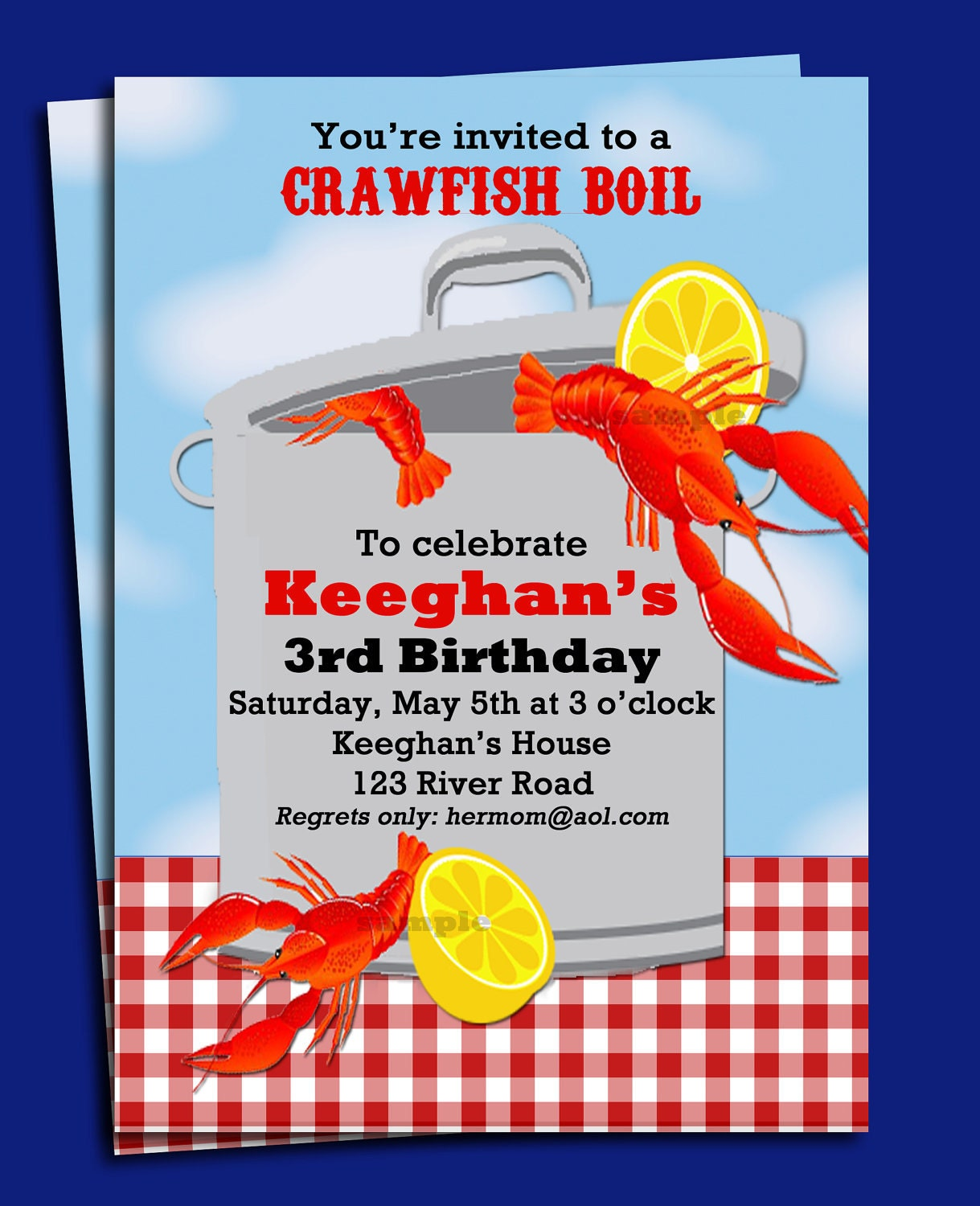 crawfish boil invitation printable or printed with free etsy