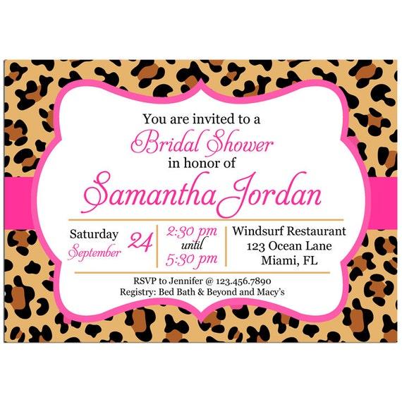 Leopard cheetah bridal shower invitation printable or printed etsy image 0 filmwisefo