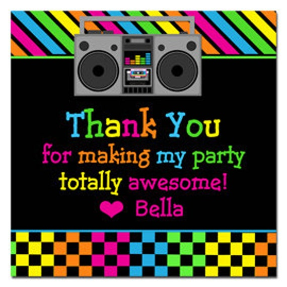 80s Neon Tags Stickers Thank You for Treat Tags, Favor Tags