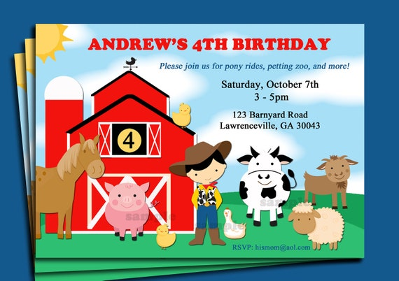 Barnyard Animal Farm Birthday Invitation Printable Or Printed With FREE SHIPPING