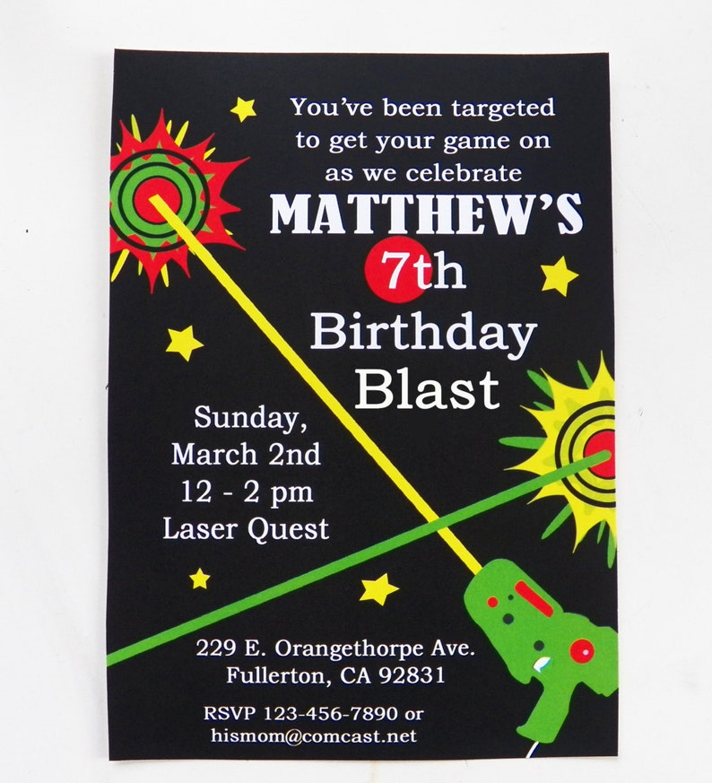 picture regarding Laser Tag Birthday Invitations Free Printable named Laser Tag Birthday Invitation Printable and Revealed with Free of charge Delivery - Laser Tag Selection